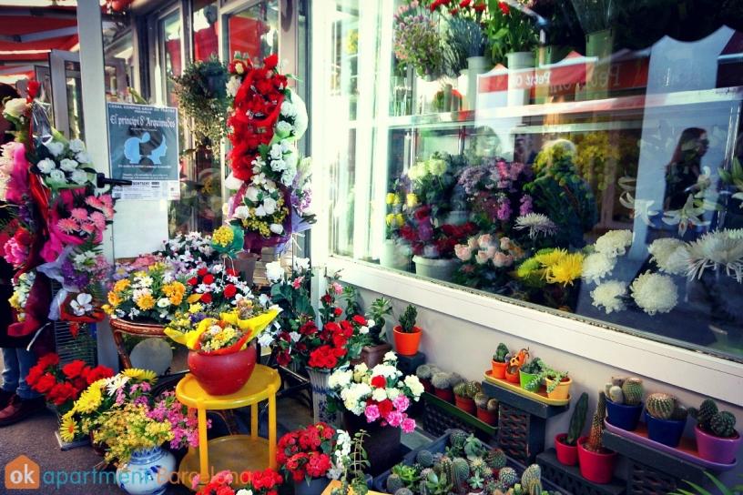 Flowers store at Mercat de Llibertat in Barcelona