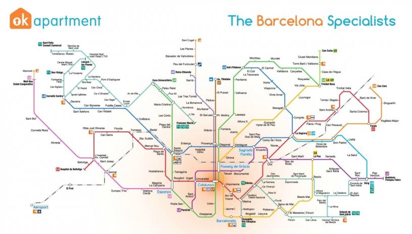 Karta över Barcelonas tunnelbana