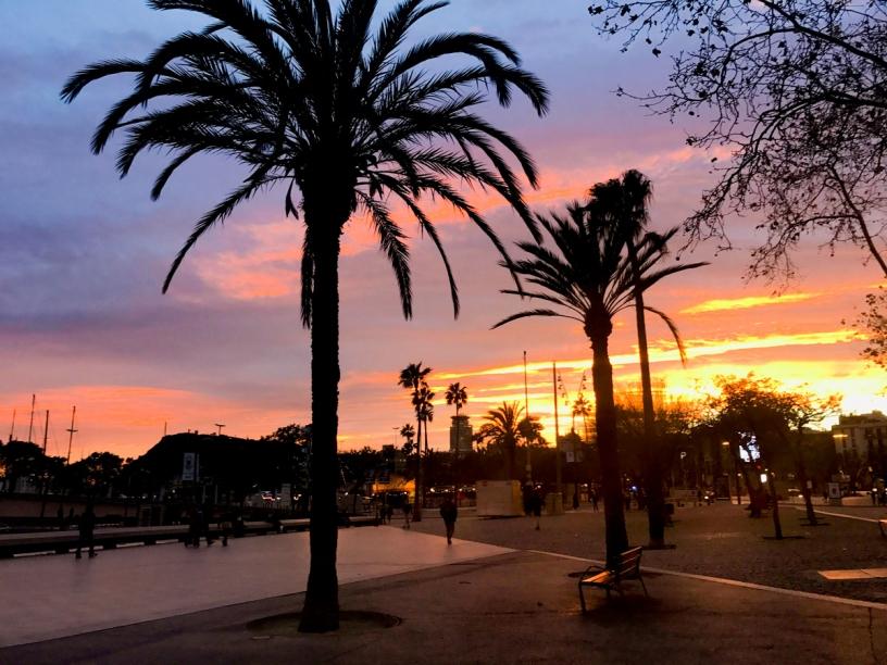 Barcelona sunset port vell
