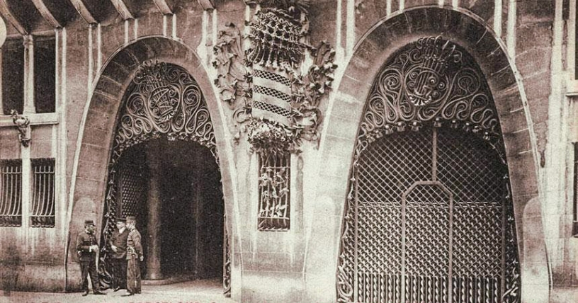 Old antique photo of Palau Guell in Barcelona