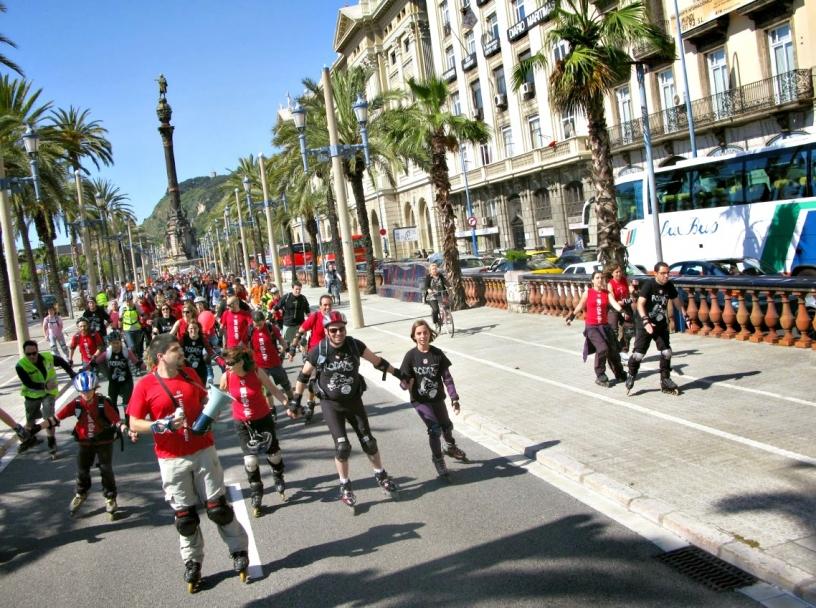 Pattinare in gruppo a Barcellona