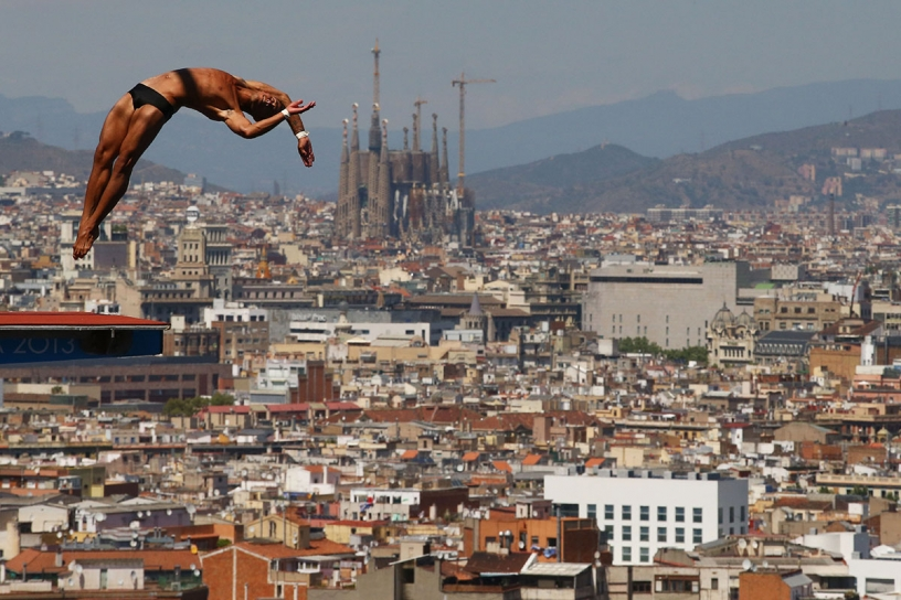 Diving board at Montjuic in Barcelona