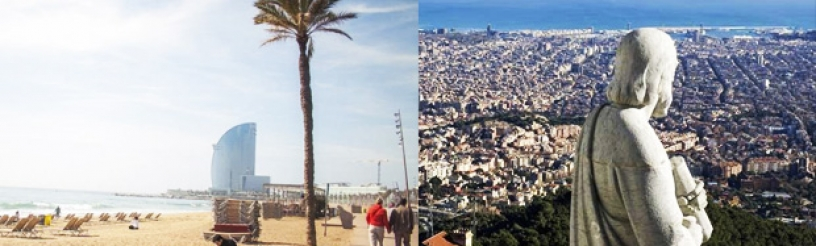 Barcelona has both beaches and mountains
