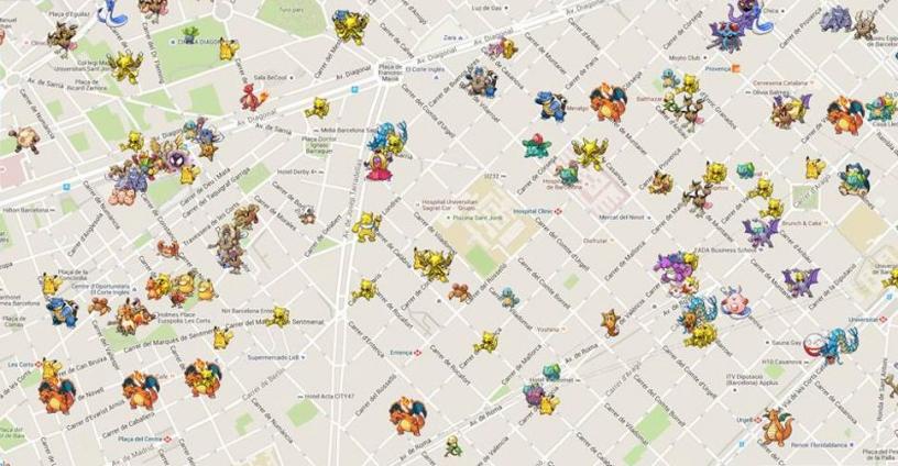Mapa de Pokémon en Barcelona