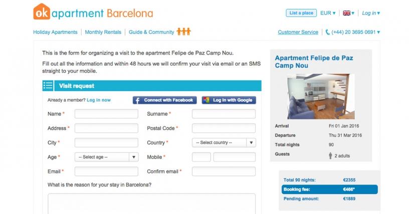 Formulär för att begära en lägenhet besök