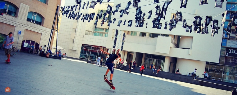 Skateboarding in MACBA