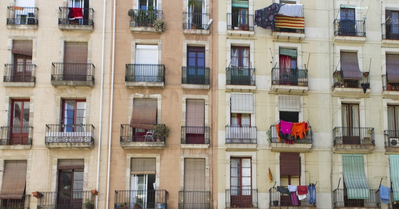 Clothes hanging on Barcelona balconies