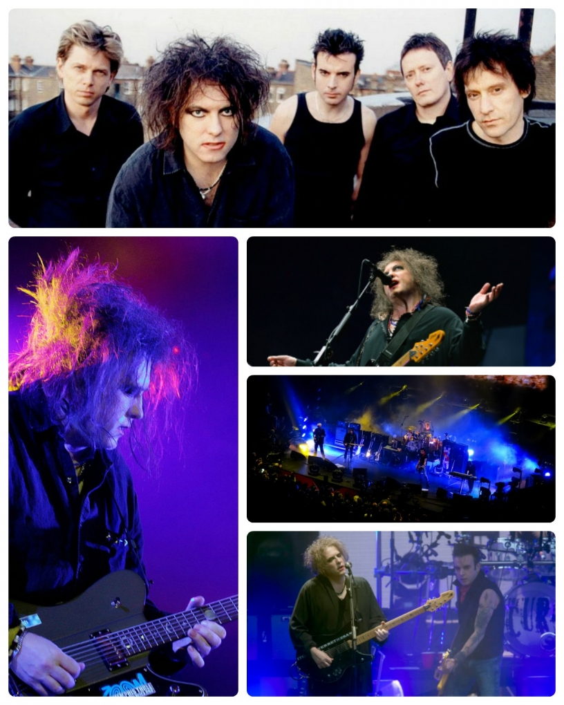 Collage de différentes perfomances de The Cure en concert