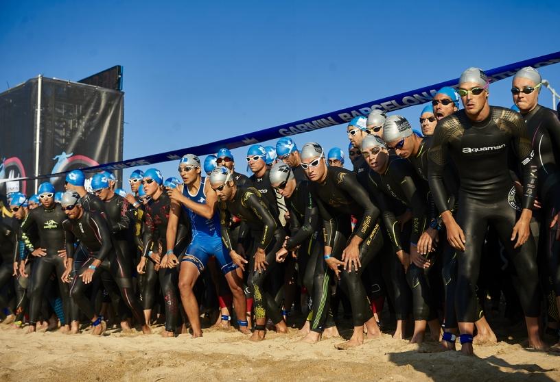 Startlinie des Triathlons