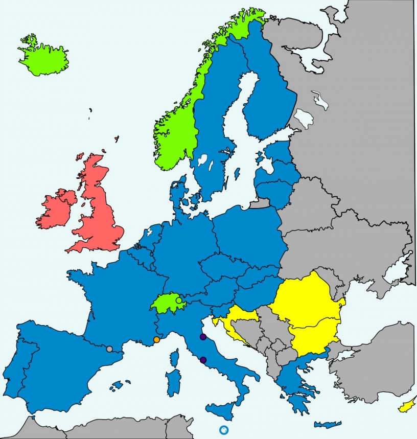 Map of the Schengen Zone