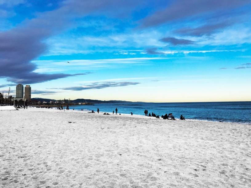 white sand Sant Sebastia Beach Barcelona