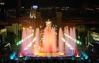 Magiska fontänen av Montjuïc i Barcelona