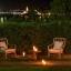 Romantischer Garten in der Nacht
