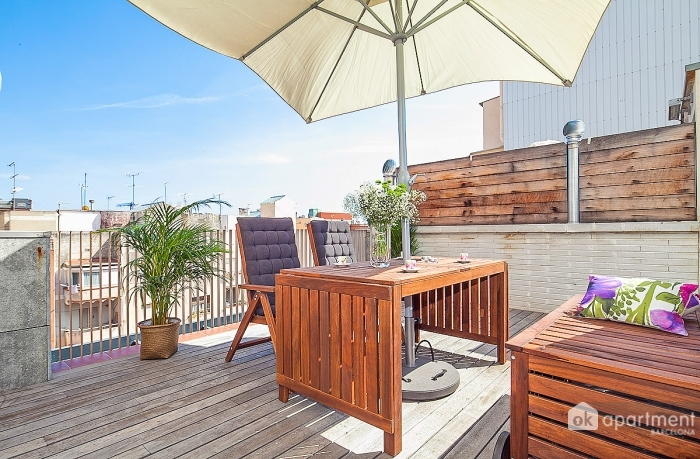 Sunny rooftop terrace